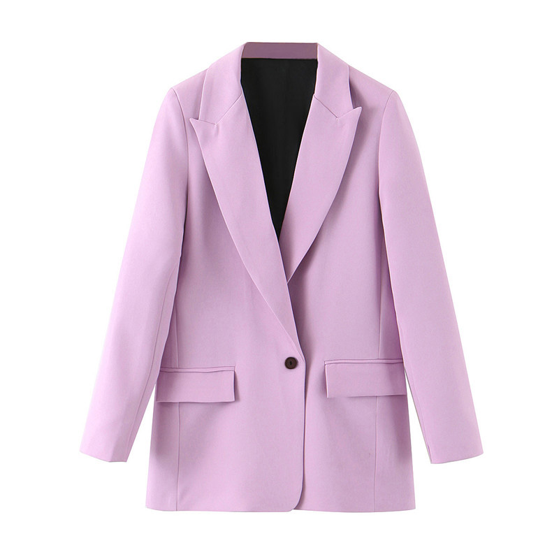 Stylish Office Lady Suit Blazers Coat Women Notched Collar Single Button Long Sleeve Outerwear 2020 Casual Chaqueta Mujer