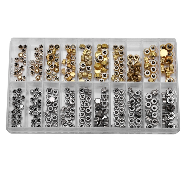 Piezas de Repuesto de corona de reloj a prueba de agua surtidos de oro y plata Domo cabeza plana accesorios de reloj Kit de herramientas de reparación para relojero
