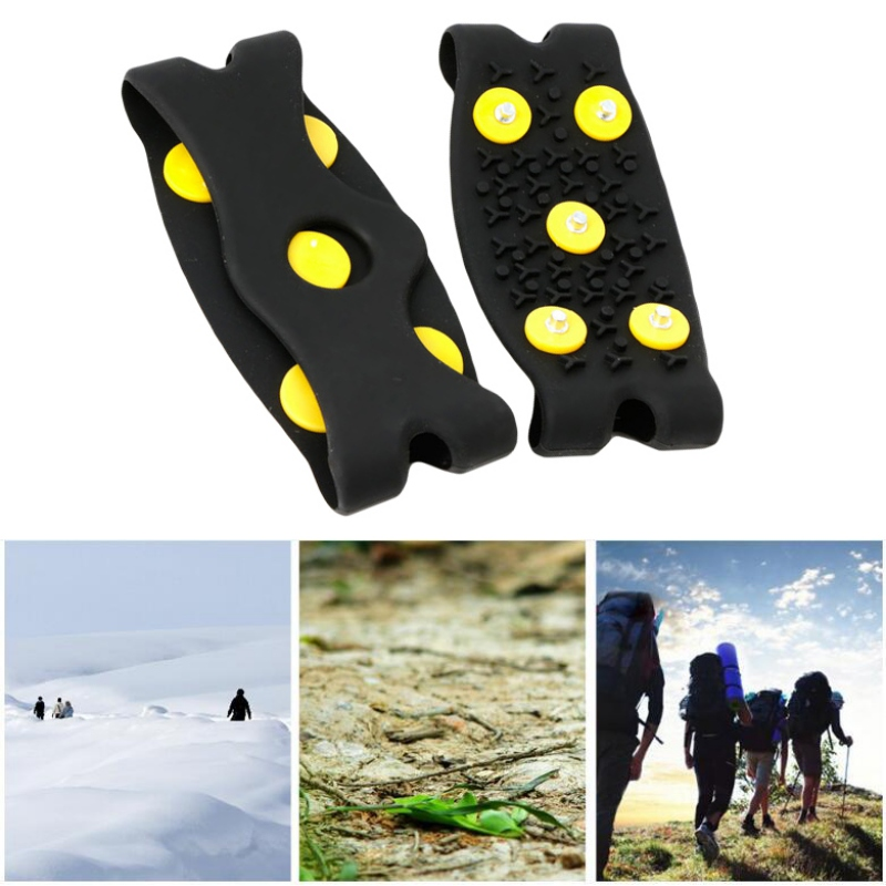 1 Pair 5-Stud Snow Ice Claw Climbing Anti Slip Spikes Grips Crampon Cleats Shoes Cover For Women Men Boots Cover For Size 35-43