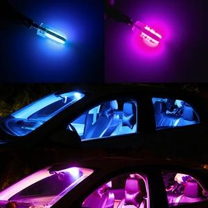 Image 5 - 100 adet T10 W5W COB 194 168 silikon araba ampul otomatik park okuma iç kubbe ışık mavi beyaz kırmızı 12V toptan araba Styling