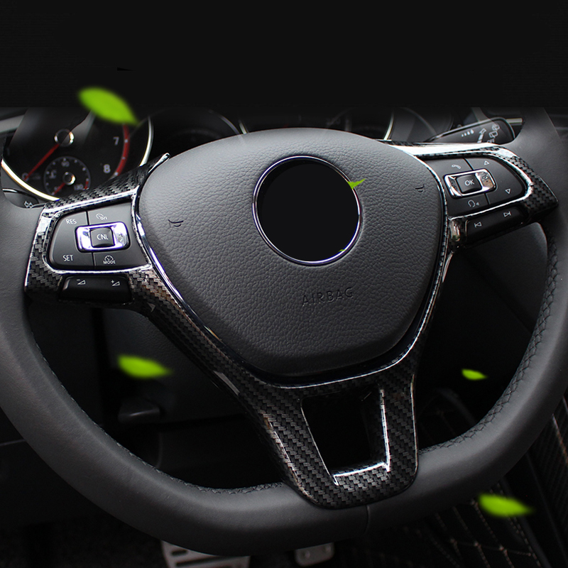 Car Styling Carbon Fiber Color Interior Steering Wheel Adjustment Cover Trim 1pcs For Volkswagen Polo MK6 2019 2020