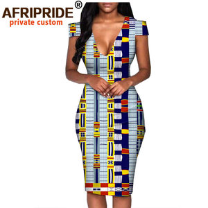 Image 4 - African summer dress for women AFRIPRIDE tailor made short sleeve knee length casual women pencil dress 100% cotton A1825074