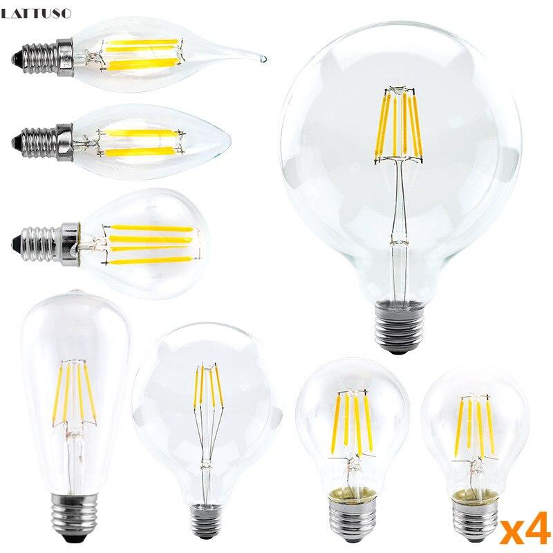 4 шт./лот СВЕТОДИОДНАЯ Лампа 220V C35 A60 G80 G95 G125 Светодиодная лампа E14 E27 светодиодные лампы в стиле ламп накаливания 2W 4W 6W 8W стеклянный шар Bombillas св...