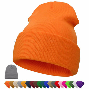 2019 Winter Hats Beanie Plain Knitted Hat Autumn Winter Warm Ski Cuff Cap Wool Blends Soft Slouchy Skull Caps Beanies Men Women 2017 winter hats warm beanies for men women autumn caps knitted hat for girls boys christmas present new year s gift film cap