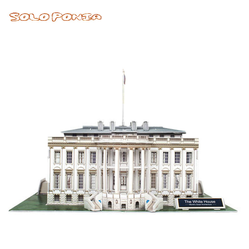 28 cm Model Cardboard 3d Three-dimensional Puzzle Creative DIY Assembling and Inserting Puzzle Toys white house Building
