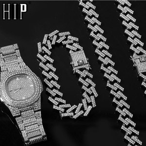 Hip Hop 15MM Necklace +Watch+Bracelet Bling Iced Out Miami Zircon Cuban Pave Rhinestone Men Bracelet Necklace For Men Jewelry