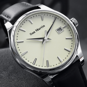 Image 3 - San Martin Männer Kleid Uhr Business Automatische Mechanische Watche Mode Swift Leder Sapphire Sehen durch Fall Zurück Datum Fenster