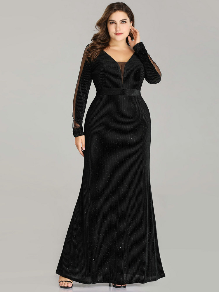 Evening-Dresses Guest-Gowns Velvet Ever Pretty Long-Sleeve Mermaid Wedding Elegant Black