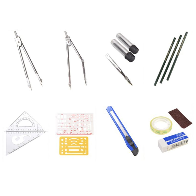16pcs/set Drafting Compass Kit Drawing Ruler Pencil Student School Supplies Tool