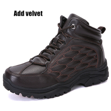 Outdoor Fur Hiking Boots Men High Top Waterproof Anti-Slippery Hunting Boots Mens Winter Warm