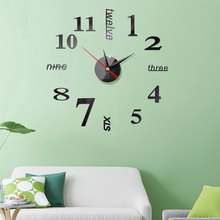 Large Wall clock wall sticker European diy 3D acrylic Art digital mirror  Wall Watch Wall Sticker Simple Modern Home Decoration funlife 3d diy moon stars clock acrylic mirror wall sticker