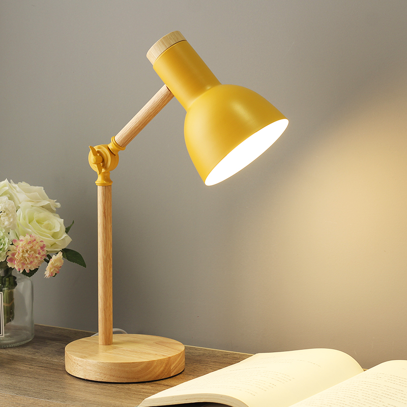 US Retro Solid Wood Adjustable angle Table Lamp Desk Office Bedroom Bedside Lamp