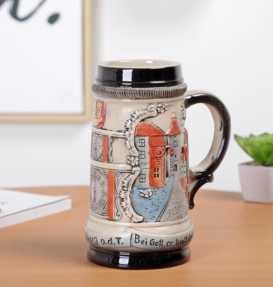 Скандинавском стиле Дворцовая керамическая рельефная чашка для воды винтажная креативная пивная чашка из нержавеющей стали Кружки Кофейн... - 4