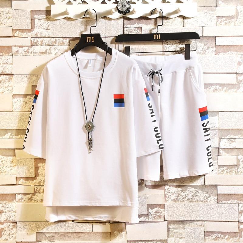 2019 Summer Set Men's Fashion Korean-style Short-sleeved Round Collar T-shirt Shorts Casual Two-Piece Set Men's Sports Summer We