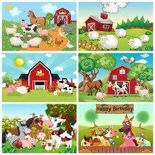 Laeacco rural fazenda festa de aniversário animal retrato do bebê dos desenhos animados foto backdrops fotografia fundos photocall photo studio