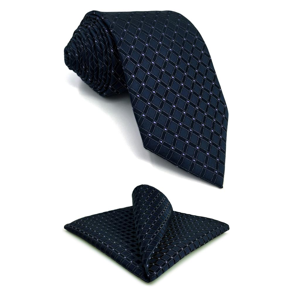 F22 Navy Checkes Men Necktie Set Business Groom XL Ties For Male Classic Pocket Square