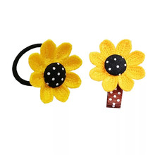 4Pcs New Sun Flower Girls Elastic Hair Bands Barrettes Cute Dots Clips Headbands Accessories for Women Cloth Headwear