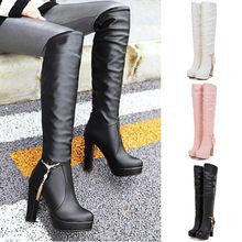 2020 Grote Maat 44 Dij Hoge Laarzen Voor Vrouwen Winter Over De Knie Laarzen Vrouwen Zwarte Slanke Warme Schoenen Vrouw elastische Botas Altas #4