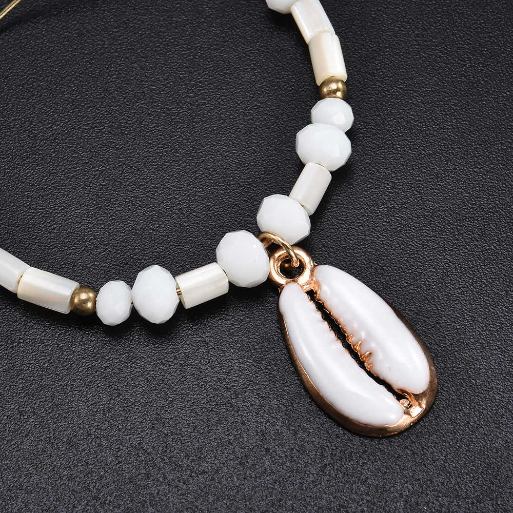 New Pearl Shell Jewelry Sets For Women Charm Bracelet Rose Gold at Sea Hoop Drop Earrings Necklaces Pendants Boho Anklet