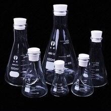 Колба из боросиликатного стекла Erlenmeyer, коническая треугольная колба с узким горлом, лабораторное химическое оборудование, от 50 мл до 1000 мл, 1...