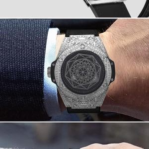 Image 4 - Ijs Out Bling Diamond Horloge Voor Mannen Vrouwen Hip Hop Iced Out Horloge Mannen Quartz Horloges Roestvrij Staal Wijzerplaat lederen Horloge Man