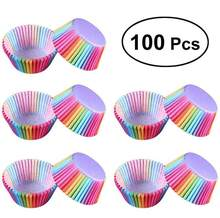 Rainbow Color Cupcake Liner Cupcake Paper Baking Muffins Cases Cake Molds Pastry Cup Decorating Tools 100Pcs(China)