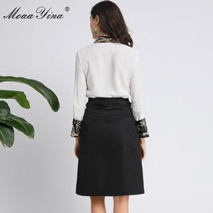 Image 5 - MoaaYina Fashion Designer Set Spring Autumn Women Long sleeve Beading Pearl Shirt Tops+Ruched Skirt Elegant Two piece set