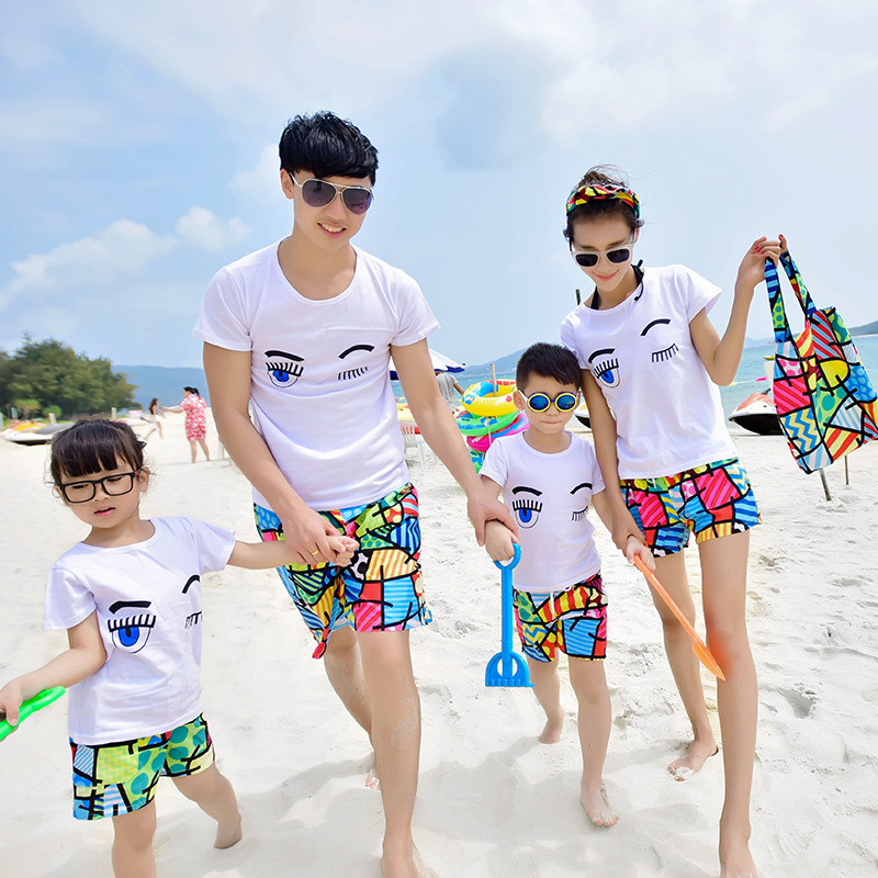 Water Park Seaside Holiday Beach Parent-child Matching Outfit Summer Wear Three Full Cotton T-shirt Quick-Dry Beach Shorts Set T