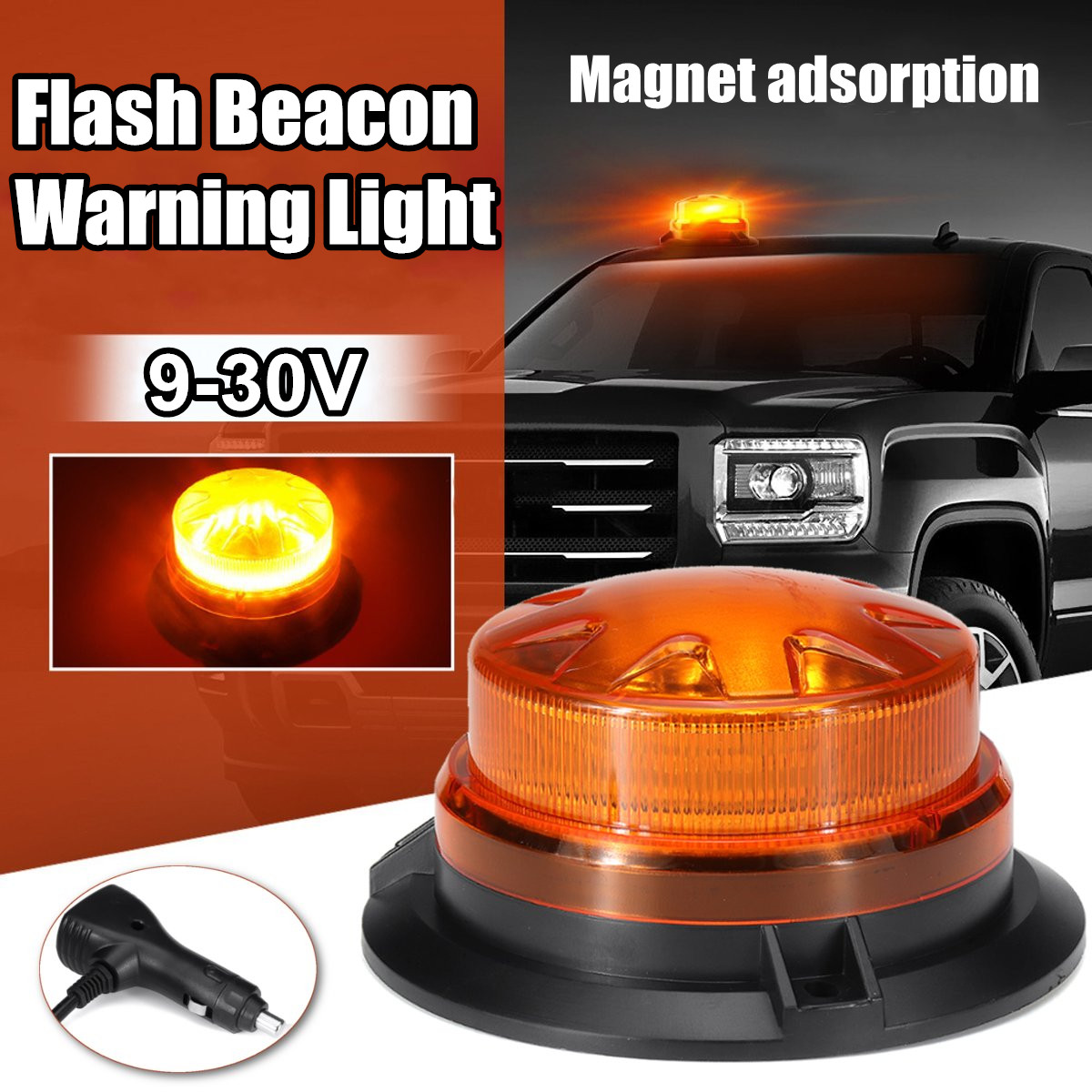 9-30V 24 LED Car Truck Strobe Warning Light LED Flashing Beacon Emergency Lights Waterproof Beacon Lamp With Magnetic Mounted
