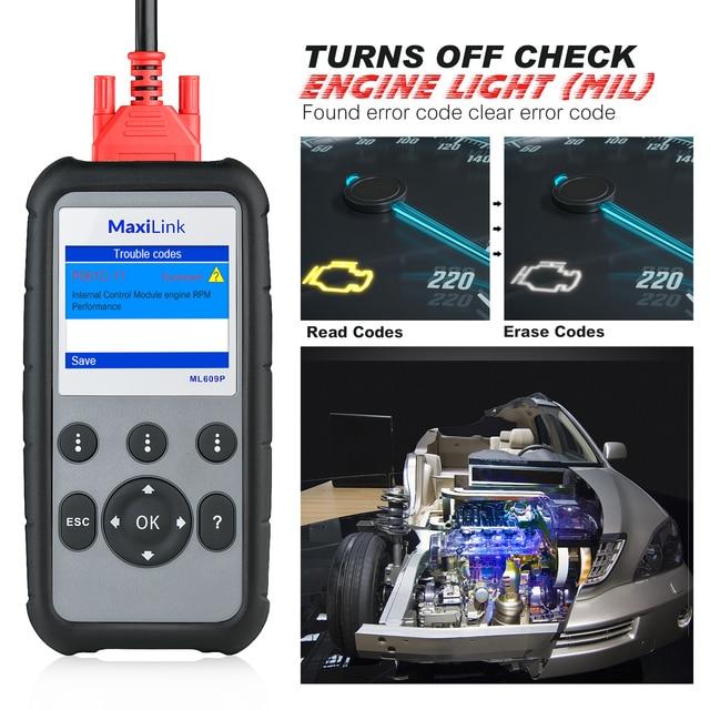 Autel ML629 OBD2 herramienta de diagnóstico de coche, lector de código + ABS/SRS herramienta automática, apagado la luz del motor (MIL) y ABS/SRS