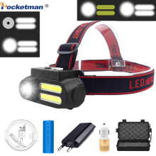 Super Portable 2*COB LED Headlamp Work Light Waterproof Headlight Use 18650 Battery USB Rechargeable Head Light