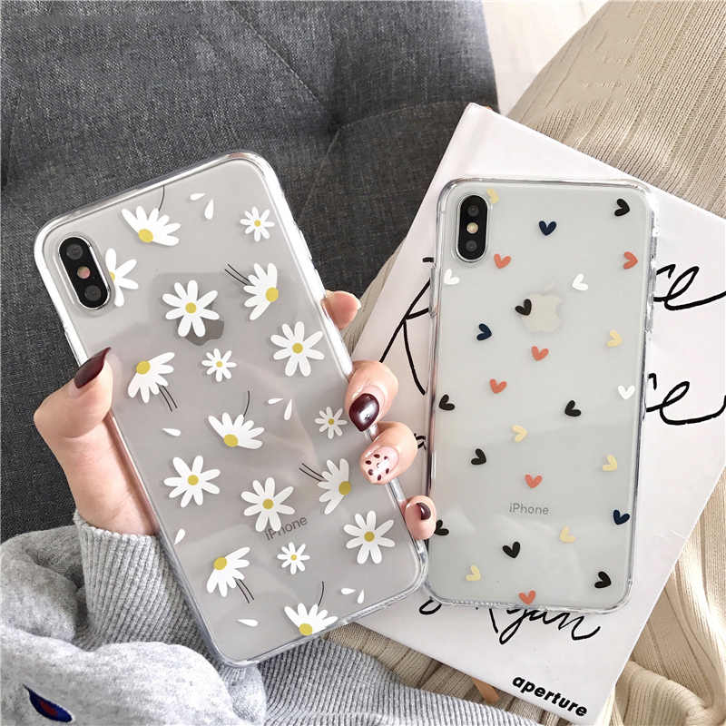 Ottwn Clear Telefoon Case Voor Iphone 11 6 6 S 7 8 Plus 11 Pro Xs Max Xr X Liefde hart Daisy Bloemen Soft Silicone Cover Cases