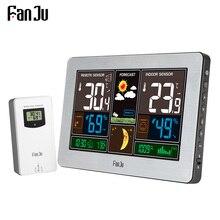 FanJu Sensor inalámbrico de temperatura y humedad, higrómetro de exterior para interiores, barómetro de pared, estación meteorológica