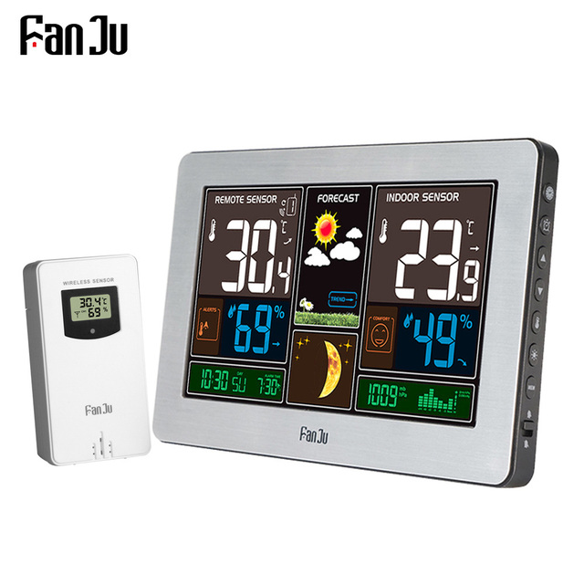 FanJu Temperature Humidity Wireless Sensor Indoor Outdoor Hygrometer Thermometer Wall Barometer Forecast Weather Station