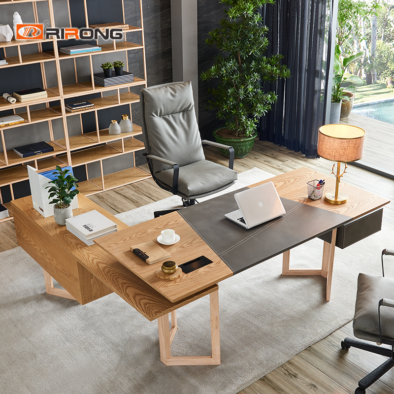 Modern Italy Fashion Simple Style Home Office Executive Wood Leather Manager Standing Table Desk