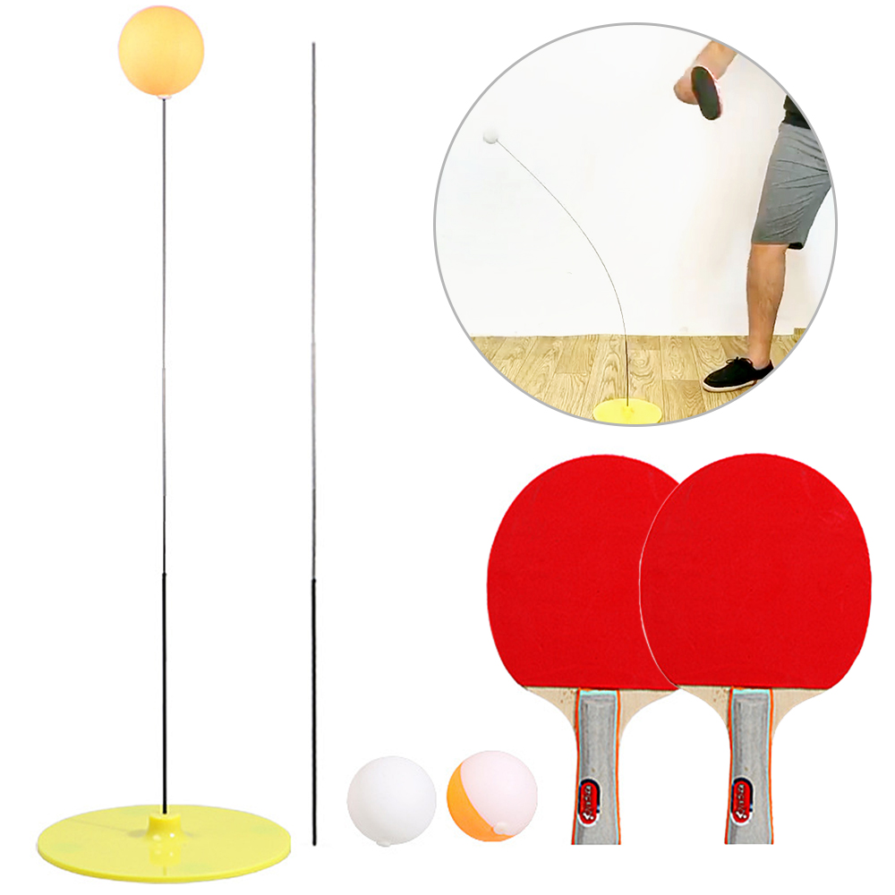 Table Tennis Trainer Elastic Rod Training Ball With Leisure Decompression Sports 2 Paddle & 3 Ball Set