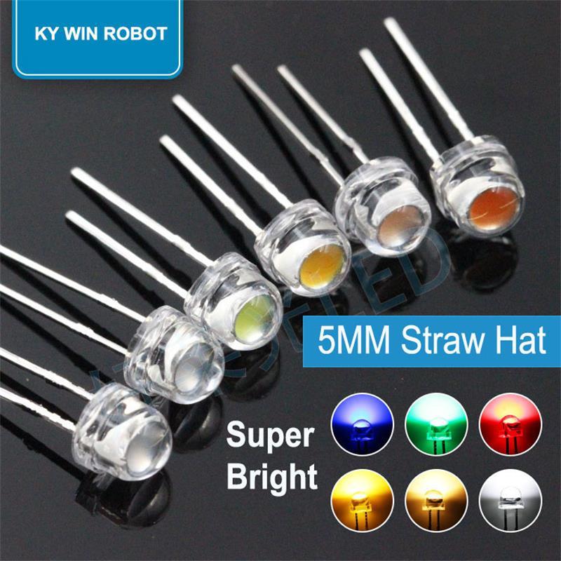 Светоизлучающие светодиоды «соломенная шляпа», 5 мм, 50 шт., супер яркие белые, 0,3 Вт, 0,5 Вт, 0,75 Вт, F5, мощность 0,5 Вт, красный, желтый, зеленый, сини...