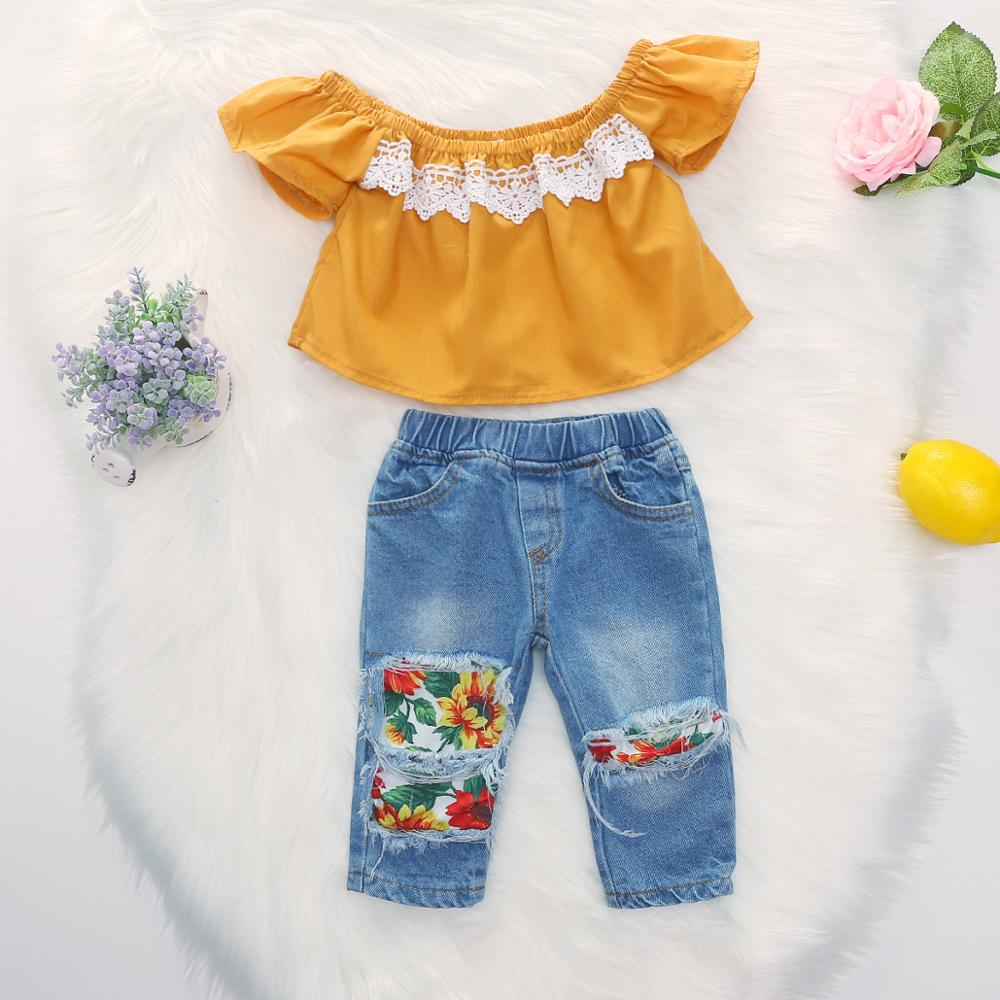 Children Clothes Summer Flying Sleeve Baby Girls Clothes Set Lace Top+Jeans Tracksuit Suit Kids Toddler Girls Outfits Clothes 1