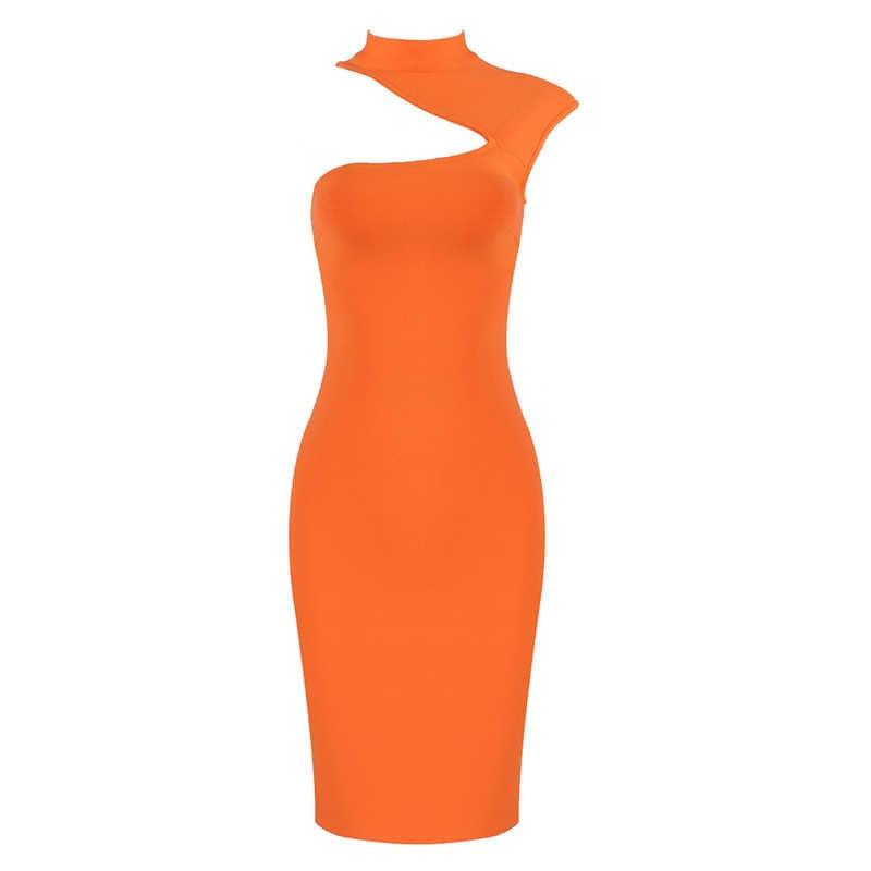 2019 Vestidos женское сексуальное дизайнерское белое оранжевое Бандажное платье знаменитость вечерние платья для ночного клуба