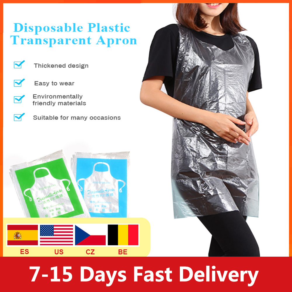 50/100pcs  Multifunctional Disposable Apron Cooking Painting Waterproof For Men Women Dinner Party Apron Kitchen Cooking Apron