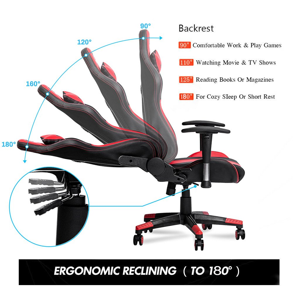 Furgle adjustable office chair ergonomic PU leather boss chair/game armchair 180 recline gaming chair for wcg game competitive