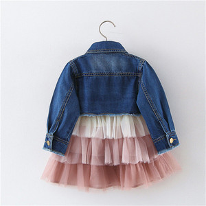 Image 2 - Alice 2019 Meisjes jurk denim top pak kinderen lente en herfst prinses taart mesh jurk kleding sets kids kleding