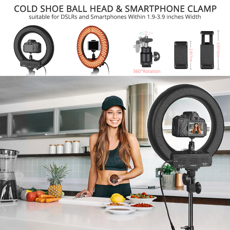 Image 3 - TRAVOR photo studio lighting ring light 14 inch 196 PCS LED ring lamp dimmable ringlight with phone clip tripod for YouTube-in Photographic Lighting from Consumer Electronics