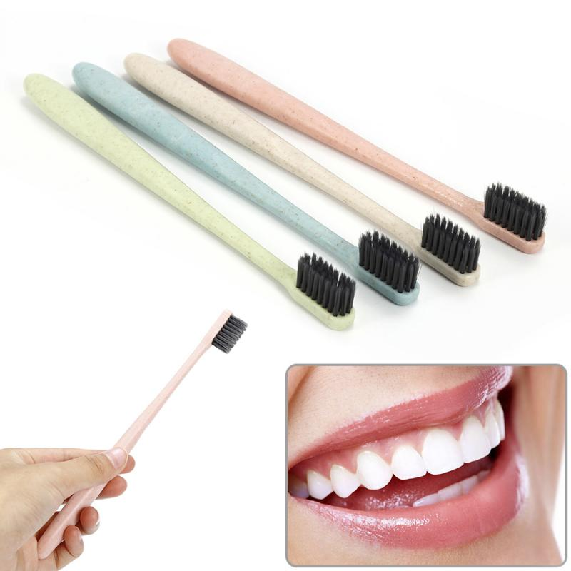 1pcs Travel Eco Friendly Toothbrushes Natural Wheat Straw Soft Bristle Low-carbon Bamboo Charcoal Toothbrush Tongue Cleaner Tool