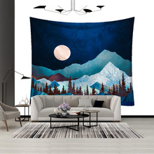 LYN&GY Nordic Mountain Tapestry Macrame Wall Hanging Abstract Carpet  Psychedelic Background cloth christmas