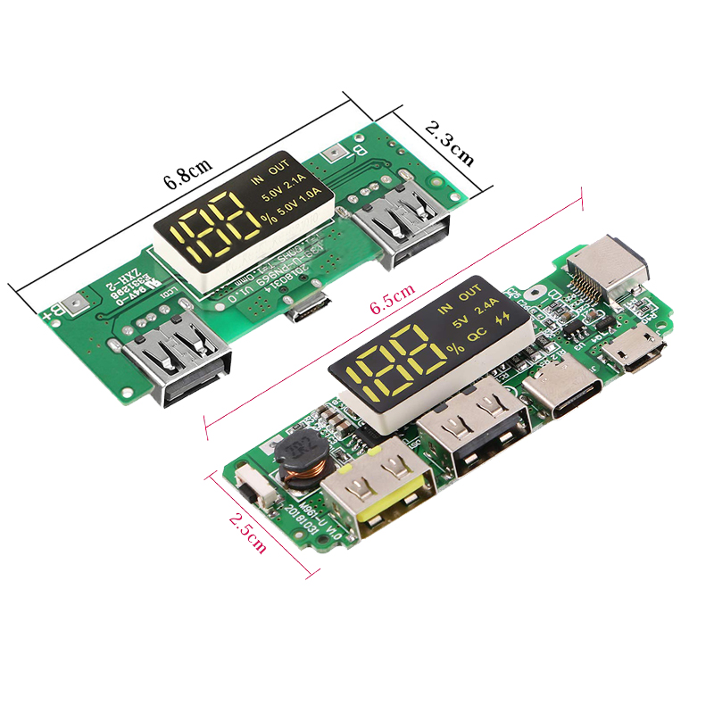 LED Dual USB <font><b>5V</b></font> 2.4A Micro/Type-C USB Mobile Power Bank 18650 Charging Module Lithium Battery Charger Board Circuit Protection image