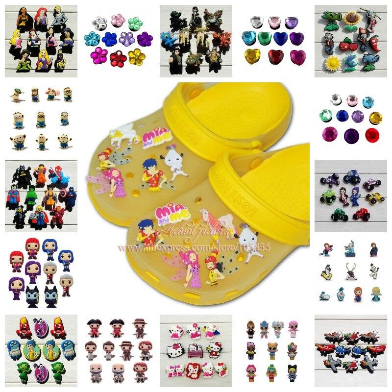10PCS Plants VS Zombies Dragon Super Mario Crystal PVC Shoe Charms Shoes Accessories Fit Bands Bracelets Croc JIBZ As Gift