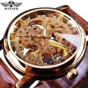 Победитель прозрачный золотой чехол, роскошный Повседневный дизайн, коричневый кожаный ремешок, мужские часы, лучший бренд, роскошные меха...