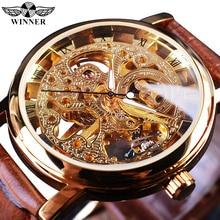 Vencedor caso de ouro transparente luxo design casual pulseira de couro marrom relógios masculinos marca superior luxo relógio esqueleto mecânico