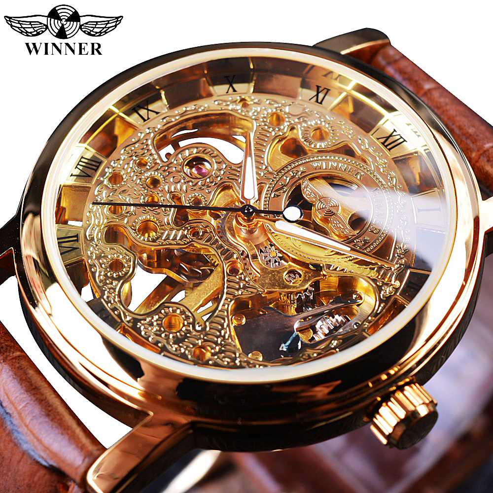 Mens Watches Skeleton-Watch Strap Mechanical Golden-Case Brown Winner Transparent Top-Brand title=